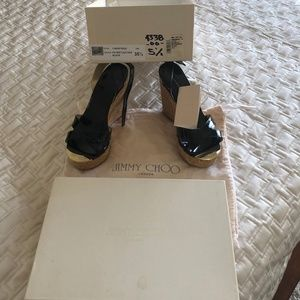 NEW!!! JIMMY CHOO PATENT LEATHER BLACK WEDGE